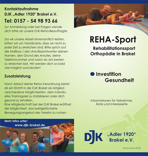 Flyer Rehabilitatiossport bei der DJK Brakel - Seite 1