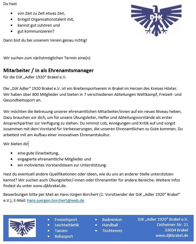DJK Brakel Stellenanzeige Ehrenamtsmanager/in