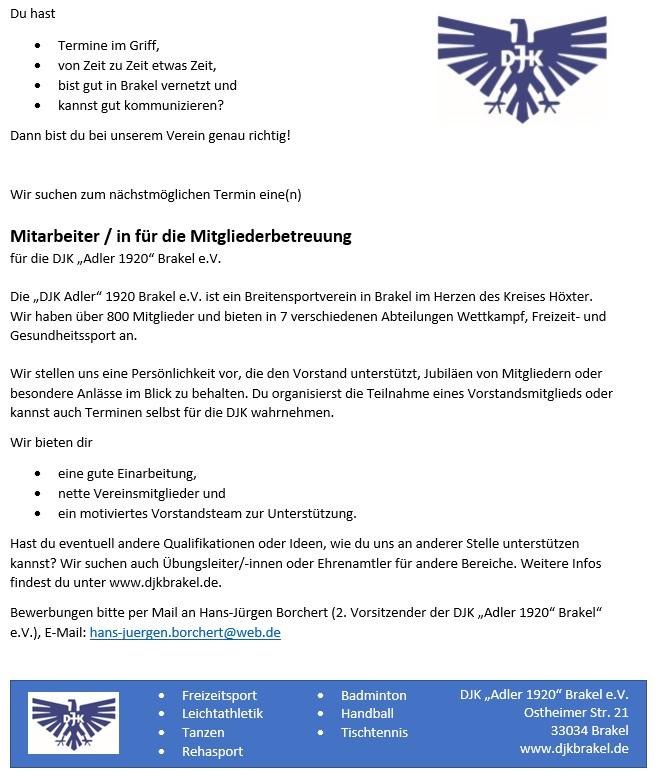 DJK Brakel Stellenanzeige Mitgliederbetreuung