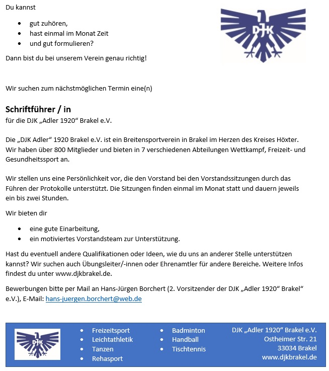 DJK Brakel Stellenanzeige Schriftführer/-in