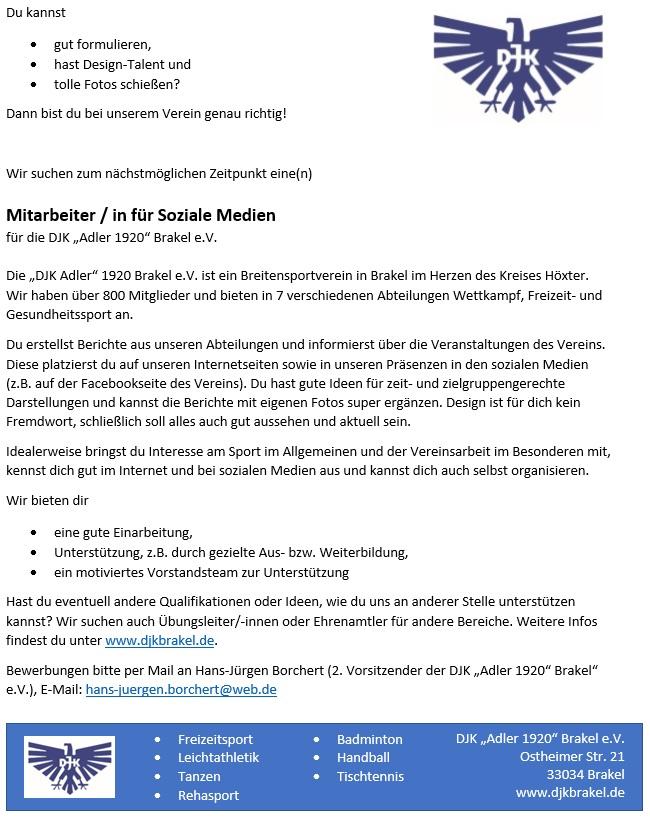 DJK Brakel Stellenanzeige Mitarbeiter/in für soziale Medien