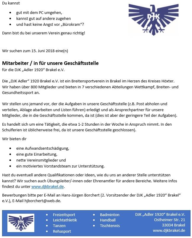 DJK Brakel Stellenanzeige Mitarbeiter/in für unsere Geschäftsstelle