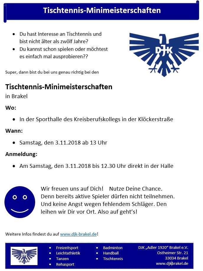 Einladung Tischtennis Minit-Turnier am 3.11.2018 in Brakel
