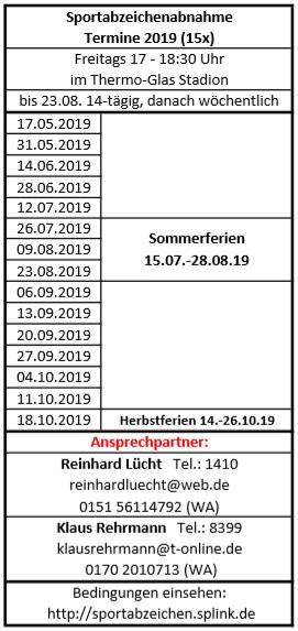 Termine Sportabzeichenabnahme 2019