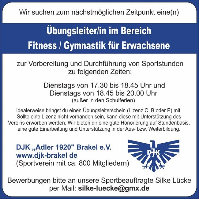 Stellenanzeige für den Bereich Fitness und Gymnastik für Erwachsene bei der DJK Brakel