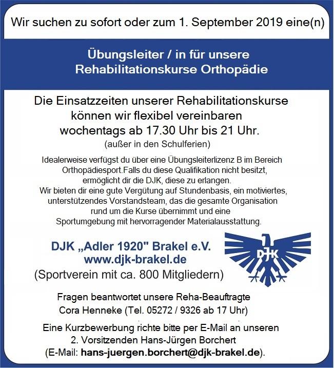 Stellenanzeige für die Rehabilitationskurse Orthopädie der DJK Brakel