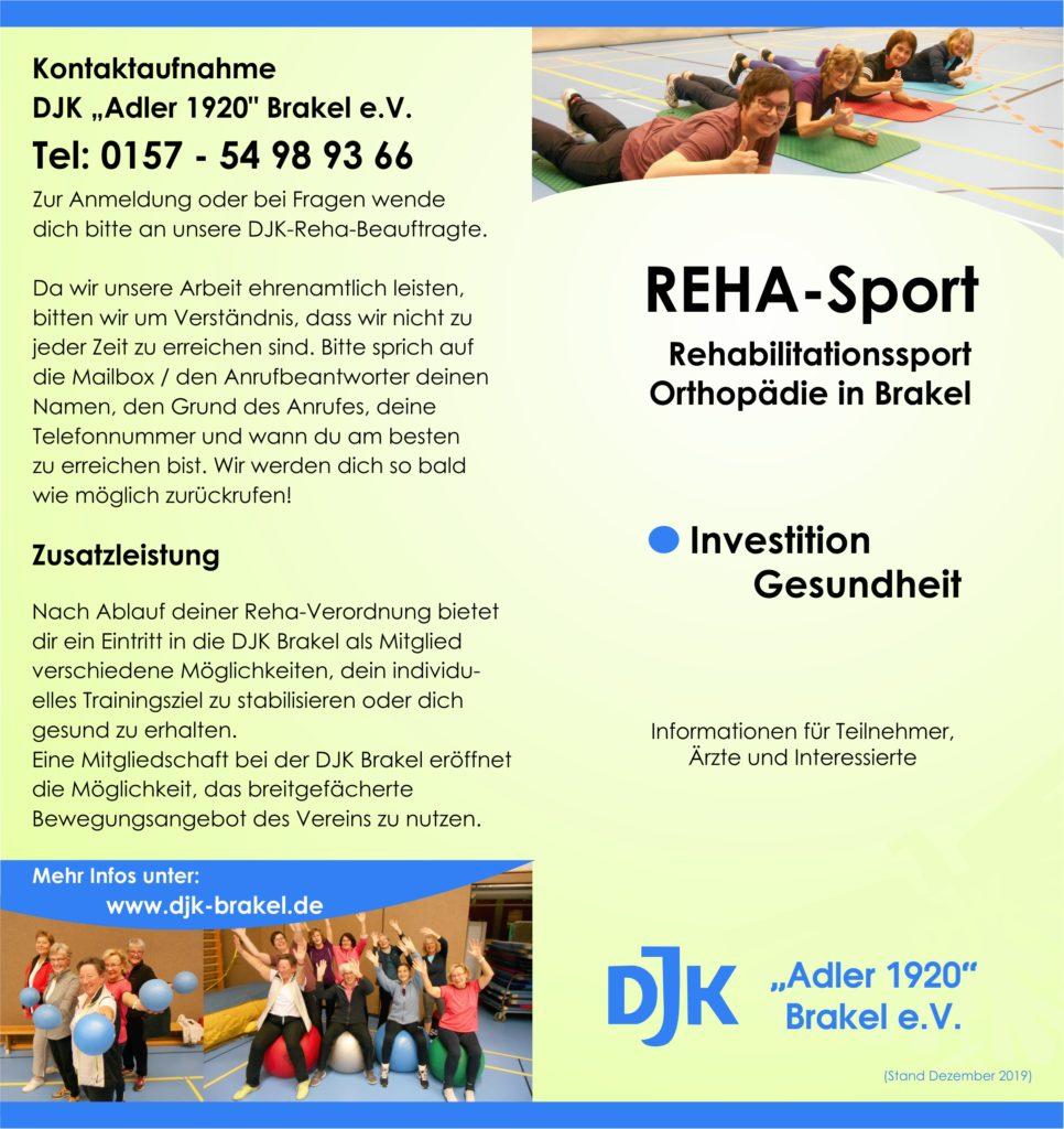 Flyer Rehabilitationssport bei der DJK Brakel - Seite 1