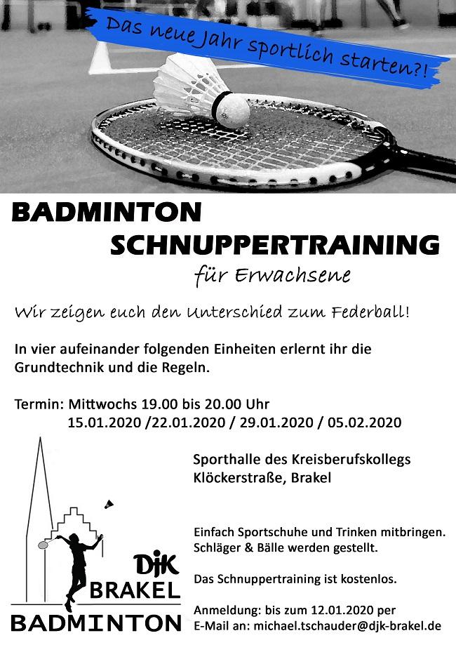 Schnuppertraining Badminton