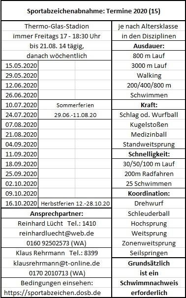 Trainings- / Abnahmetermine Sportabzeichen 2020 bei der DJK Brakel